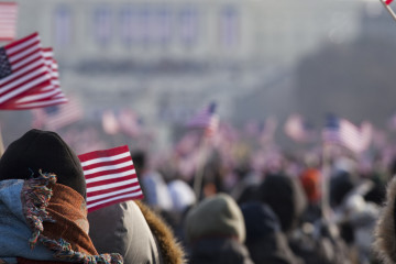 Flag waving and celebrations at the US capitol building in Washington DC